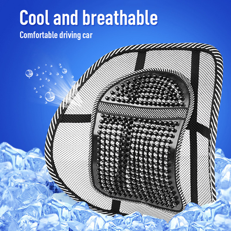 Car Seat Chair Back Massage Lumbar Support Waist Cushion Mesh Ventilate Cushion Pad for Car Office Home Interior Accessories