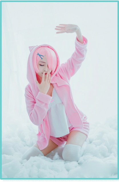 Pink/blue Rem Ram Pajama Set Re:Life in a Different World From Zero Cos Rem Ram Sexy Cat Ear Costume Women Anime Cosplay Pajamas 3