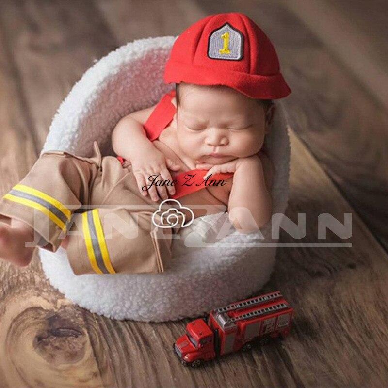 Jane Z Ann Neugeborenen Baby Feuerwehrmann Thema Kostüm Kleidung Feuer Lkw Fotografie Requisiten Studio Zubehör VerrüCkter Preis
