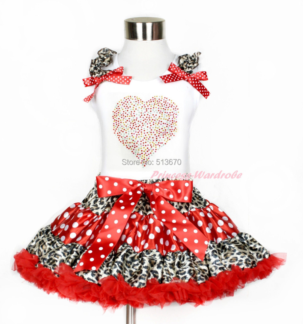 XMAS Rhinestone Rainbow Valentine Heart White Tank Top Leopard Minnie Dot Skirt Set 1-8Y MAPSA0205 xmas rhinestone santa baby top green white dot red skirt baby girl outfit 1 8y mapsa0048