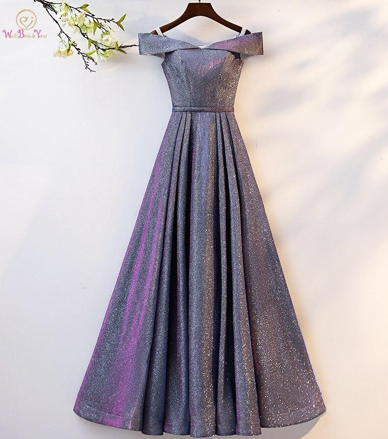 Marcher à côté De vous Bling robes De soirée Longue élégante hors épaule Robe Longue Robe De bal Sexy Robe formelle Vestido De Fiesta Mujer