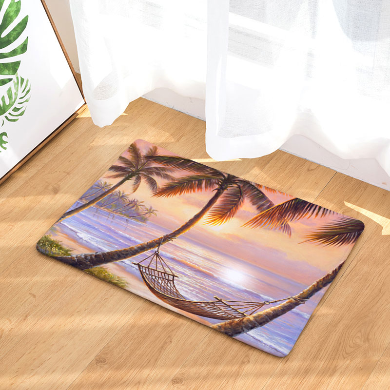 Homing Welcome Home Hallway Door Mats Non-skid Romantic Beach Tree Scenic Pattern Mats Light Soft Thin Floor Bedroom Carpets