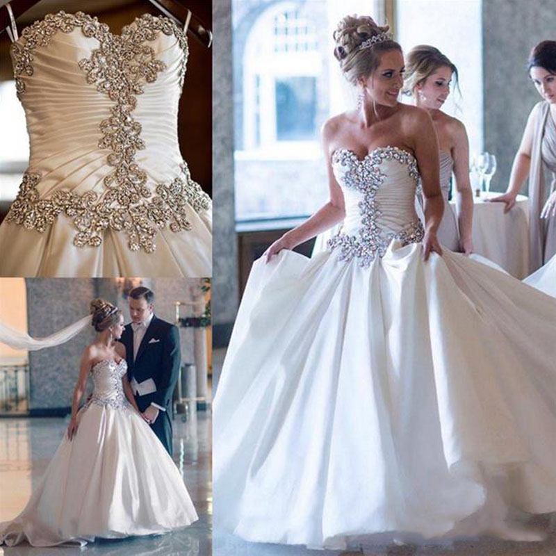 303a9de4697 Bling Crystal Satin Plus Size Wedding Dresses 2017 Vintage Chapel Train Sweetheart  Neck Pleated Corset Custom Made Bridal Gowns -in Wedding Dresses from ...