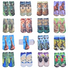 3d Printed Socks Women New Low Cut Ankle Funny Sock Summer New Fashion Women's Casual Cotton Animal Socks