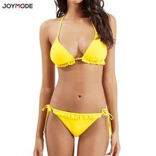 JOYMODE Badeanzug Frauen Sexy Brizilian Bikini Bademode Micro 2018 Pad Sexy Halter Bad-klage Push Up Biquini Tanga Einfarbig