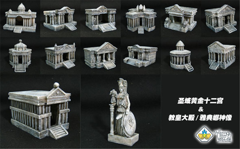 Amusement Park Saint Seiya model scene Golden Zodiac Palace with Pope Athena Statue Full set F468