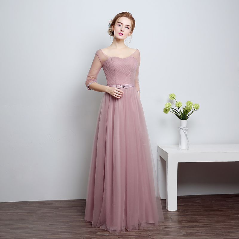 U-SWEAR 2019 New Arrival Women   Bridesmaid     Dresses   Sweetheart Half Sleeve High Waist Bow Chiffon Female   Bridesmaid     Dresses