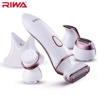RIWA 4 In 1 Set Women Epilator Electric Face Skin Care Tool Facial Cleaner Waterproof Hair