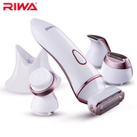 RIWA 4 In 1 Set Women Epilator Electric Face Skin Care Tool Facial Cleaner Waterproof Hair