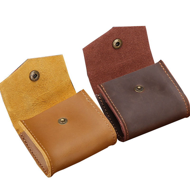 Mini Leather Wallet Shape Bill Storage Bag Small Retro Document Bag 8*3.5*7.5 Cm Joy Corner