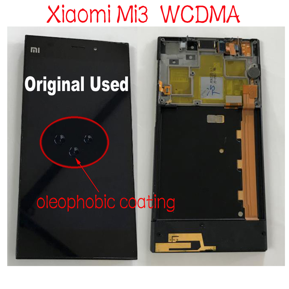 Original Used Working Glass Sensor Frame + LCD <font><b>Display</b></font> Touch Screen Digitizer Assembly For <font><b>Xiaomi</b></font> 3 <font><b>Mi3</b></font> M3 Mi 3 parts Mobile image