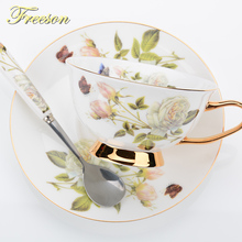 Butterfly Rose Bone China Tea Cup Saucer Spoon Set 200ml Europe Ceramic Coffee Cup British Advanced Porcelain Teacup