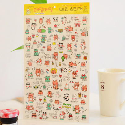 4 sheets 25*16cm Creative PVC Sticker for DIY Scrapbooking Diary Phone Planner Sticker Products Design Paster Kawaii Stationary
