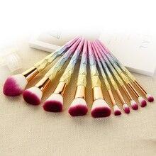 10PCS Fantasy Makeup Brushes Set Colorful High Quality Foundation Powder Blush Eyebrow Kabuki Diamond Cosmetic Brush Tools