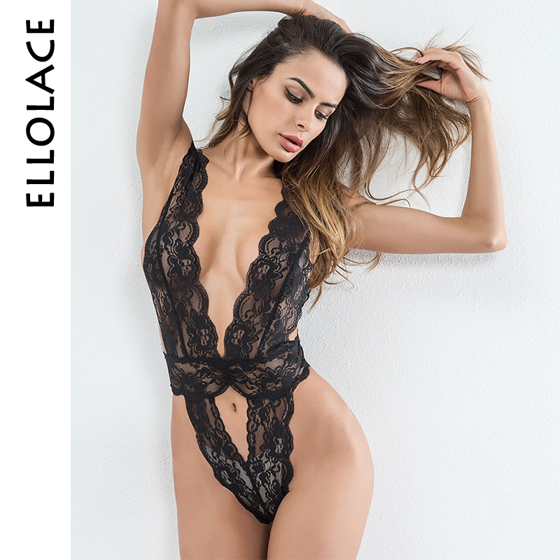 Ellolace sexy bodysuit hollow out   jumpsuit   deep v lace mesh teddy one piece leotard slim waist overalls for women