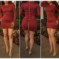 Fashion sexy club dress 2017 new arrivals spring women Red wine long sleeve o-neck slim hip mini zippers Suede bandage dress