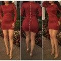 Moda atractivo del club dress 2017 nuevas llegadas mujeres del resorte rojo vino de manga larga del o-cuello de la cadera delgada mini cremalleras Gamuza vendaje dress