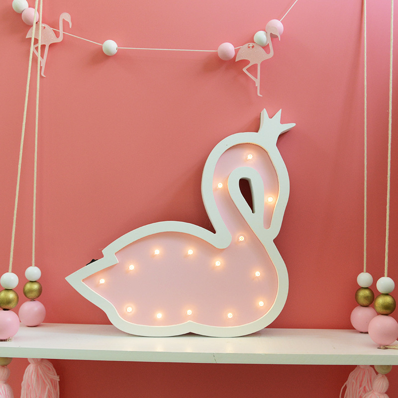 Favourite Scandinavian Nursery Kids Room Decor Items: Nordic Nursery Decor Wooden Pink Swan LED Night Light Girs