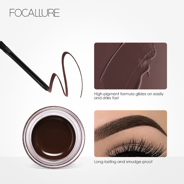 FOCALLURE Eyes Comestic Waterproof Eyebrow Gel Makeup Long Lasting Liquid Eyebrow Cream Eye Brow Makeup Set + Black Brush 3