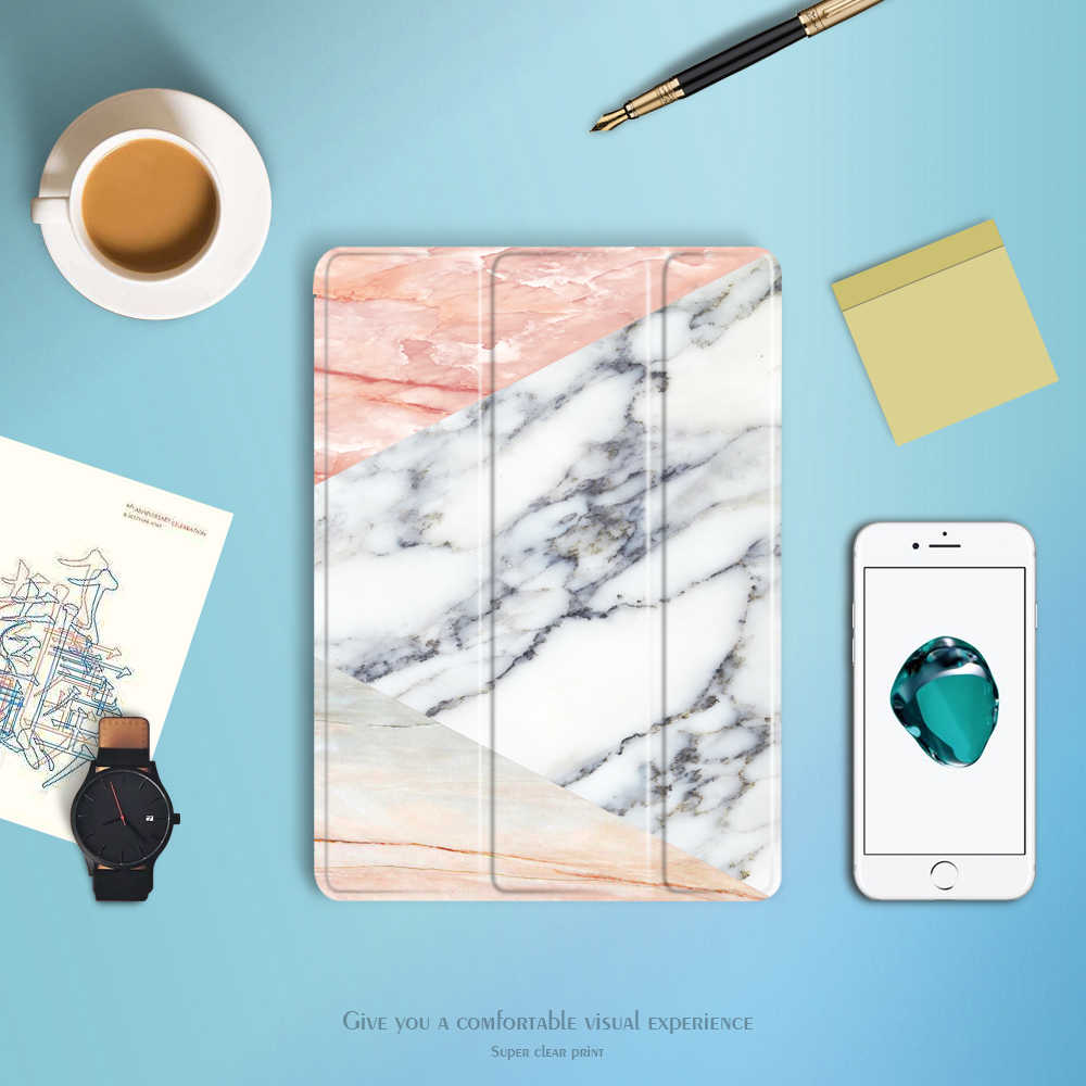 case for iPad 9.7 inch 2017/2018 release YRSKV Smart wake up sleep Marble Pattern Folding Stand TPU soft bottom Protective cover
