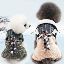 Autumn and winter pet dog Teddy vest Plaid rabbit decorative coat warm plush clothing