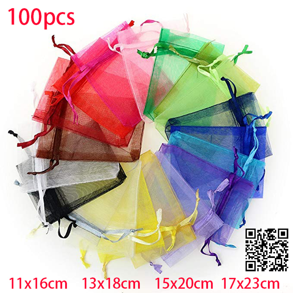 100pcs 11x16cm Jewelry Packaging Display Drawable Organza Bags Pouches Packing DIY Pouches Transparent Gauze Display Bags Gift