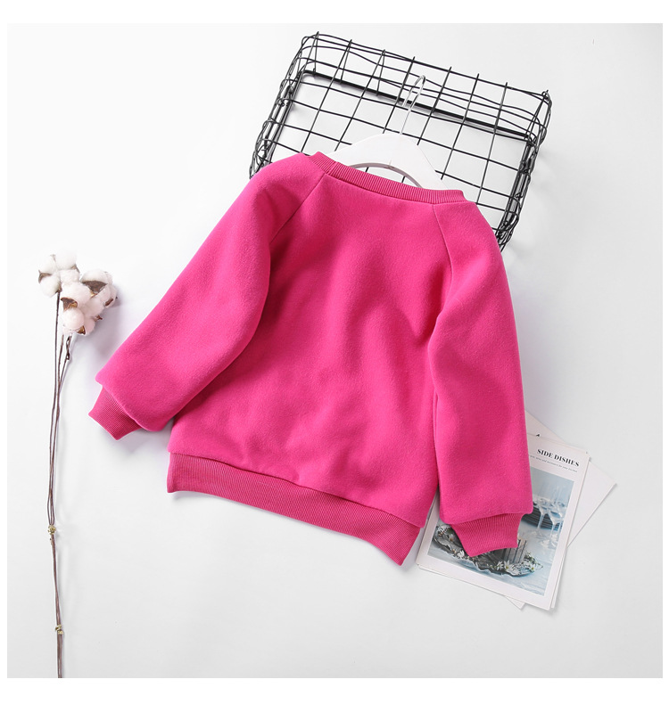 Cute Ball Ice Cream Girls Sweatshirt Autumn Winter Thick Warm Kids Sweatshirts for Girl O-neck Long Sleeve Children Top Clothing 5