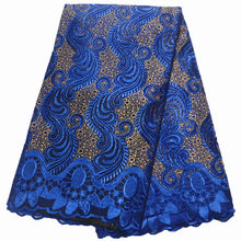 blue lace fabric 2019 high quality lace nigerian lace fabric for women dress african tulle lace with stones 5yards per piece(China)