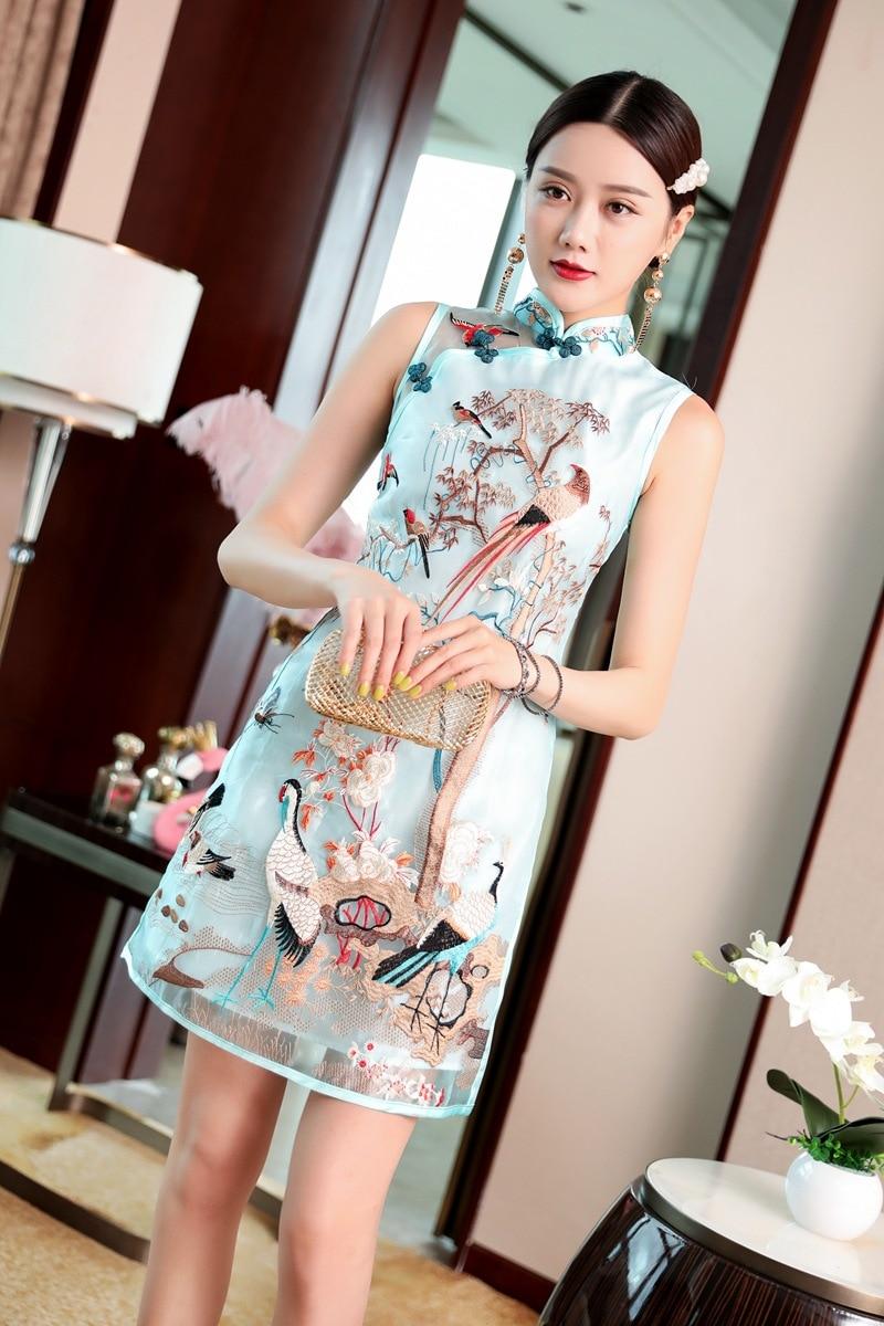 2019 summer chinese style crane embroidery sleeveless short organza dress