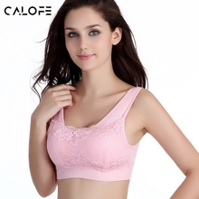 CALOFE Fitness Yoga Bra Sportwear Padded Push Up Bra Sexy Lace Crop Top Yoga Jogging Gym Shirts Sports Bra Vest Seamless Bra
