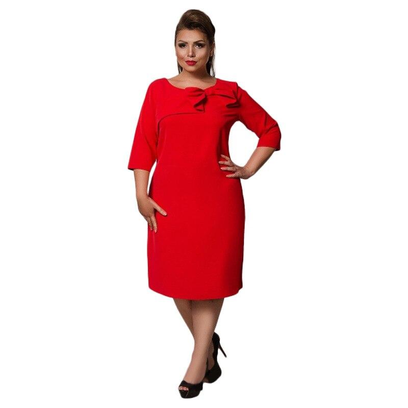 COCOEPPS 6XL Large Size Dress Red Women Autumn Thicken Dress Plus Size Female Clothing Office Elegant Loose Dress Three Quarter