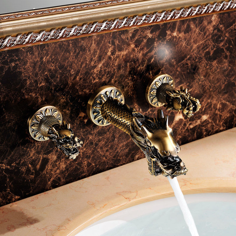 Free ship Antique brass dragon Design widespread bathroom Lavatory sink Faucet wall mounted