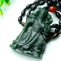 Certificate Super Natural XinJiang gr jade Carven GuanYu Pendant Amulet Necklace Buddha Sling Jewelry gift with Box