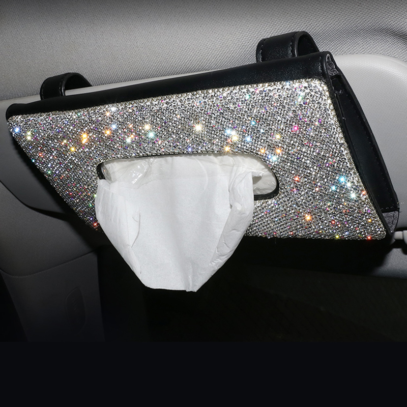 Bling Crystal Car Tissue Box Sun Visor Diamond Leather Auto Tissue Paper Holder Case Sunvisor Hanging Napkin Car Accessories