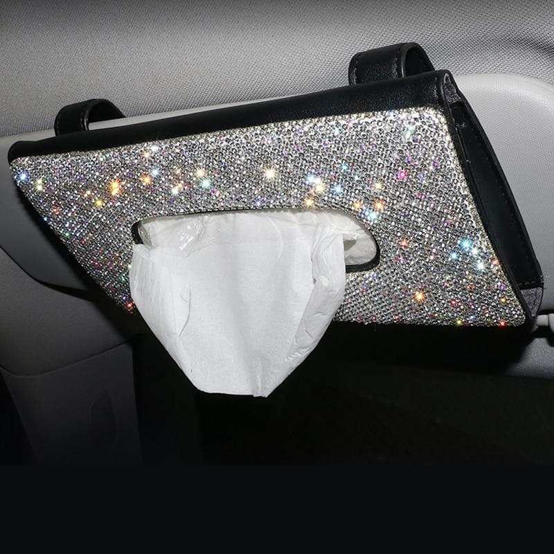 Bling Crystal Car Tissue Box Sun Visor Diamond Leather Auto Tissue Paper Holder Case Sunvisor Hanging Napkin Car Accessories