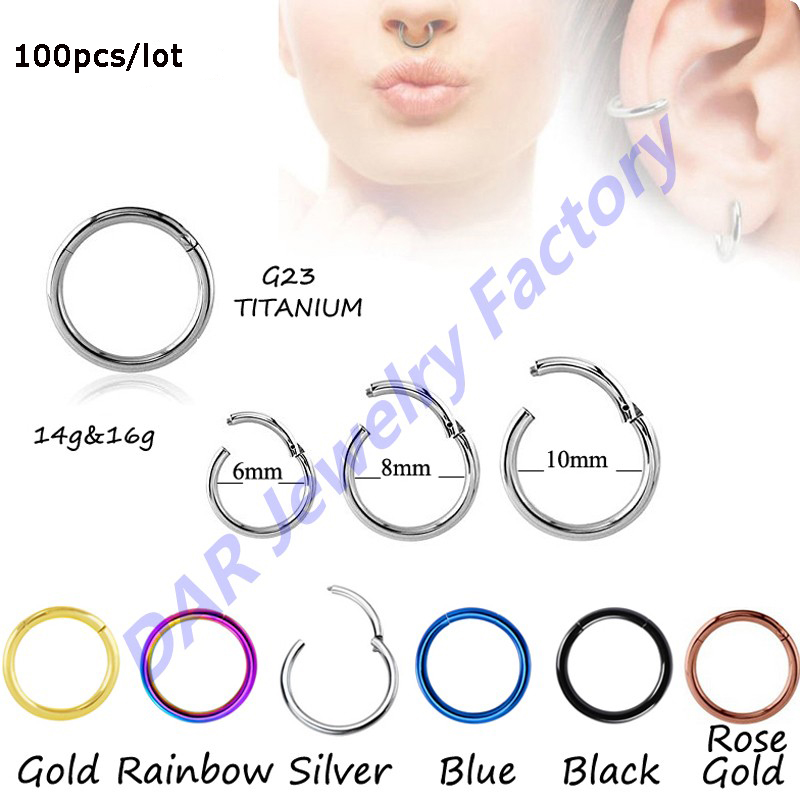 SHUIMEI Fashion 100pcs Titanium G23 Hinged Segment Nose Hoop Rings ...
