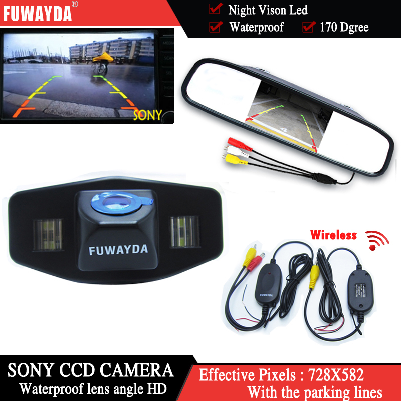 FUWAYDA Wireless Color Car Chip Rear View Camera for Honda Accord Pilot Civic Odyssey Acura TSX+4.3Inch rearview Mirror Monitor evergreen tbk286hwpt 00 04 acura honda pilot odyssey j32a j35a timing belt kit water pump page 5