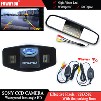 FUWAYDA Wireless Color Car Chip Rear View Camera for Honda Accord Pilot Civic Odyssey Acura TSX+4.3Inch rearview Mirror Monitor