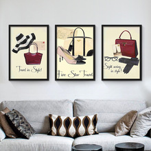 Nordic Home Decoration Red High Heels Bags Perfume Canvas Art Painting COCO Wall Pictures For Shop Mall Women Room No Frame