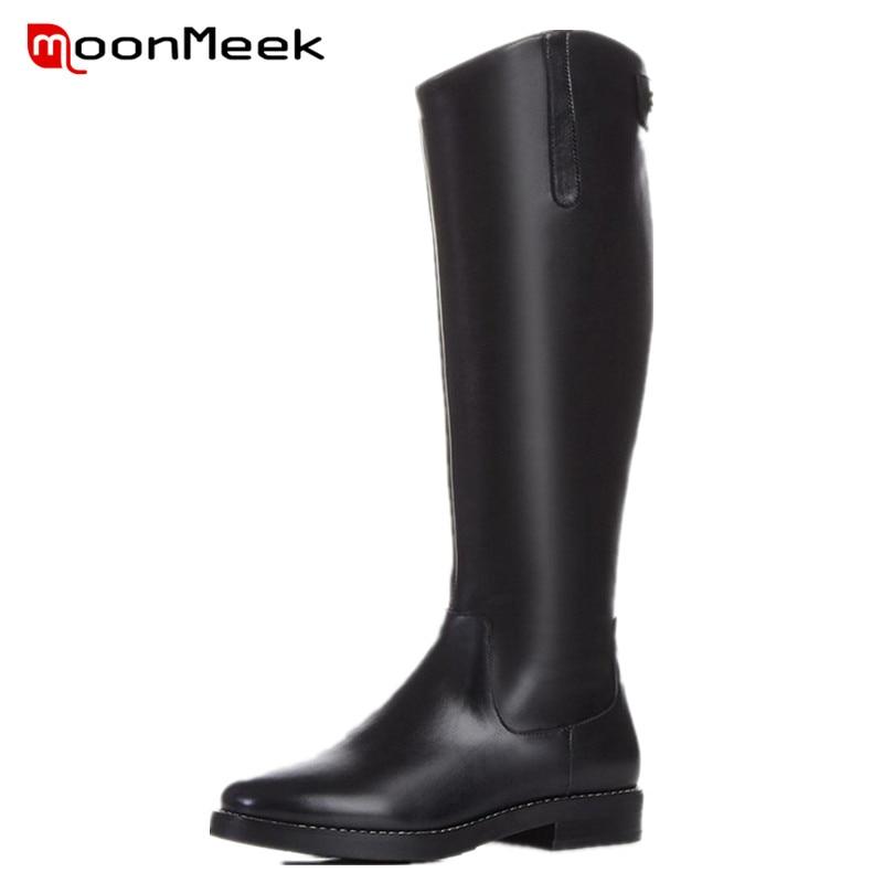 ФОТО MoonMeek 2017 Hot sale pu+genuine leather boots autumn women knee high boots top quality long boots punk fashion