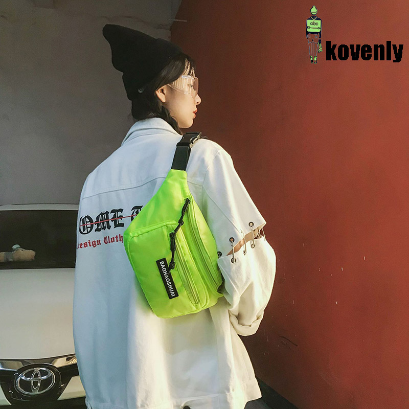 Canvas Waist Pack Street Unisex Cellphone Bag Fluorescent Color Fanny Pack Travel Shoulder Bag Summer Chest Bag Hip-hop Bags 022