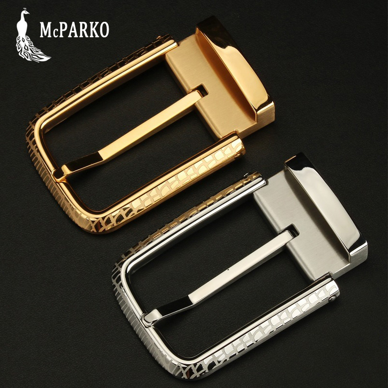 Metal Waist Belt Buckle Men Stainless Steel Pin Buckle Without Belt Luxury Brand Design Belt Buckle Silver Golden 3.5cm 3.85cm