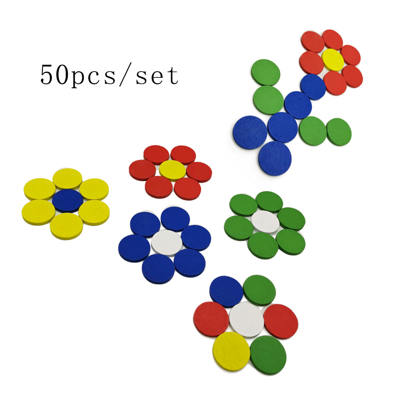 50Pcs/Lot  Montessori Wooden Toys Multi Colour Counters Baby Math Toys Montessori Educational Wooden Toys C066XT