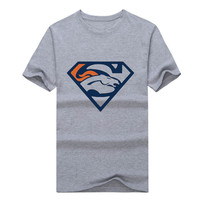 2017 Men's Denver Team Superman Logo Cool T Shirt Printed Casual Eagles Tees 100% cotton for Broncos
