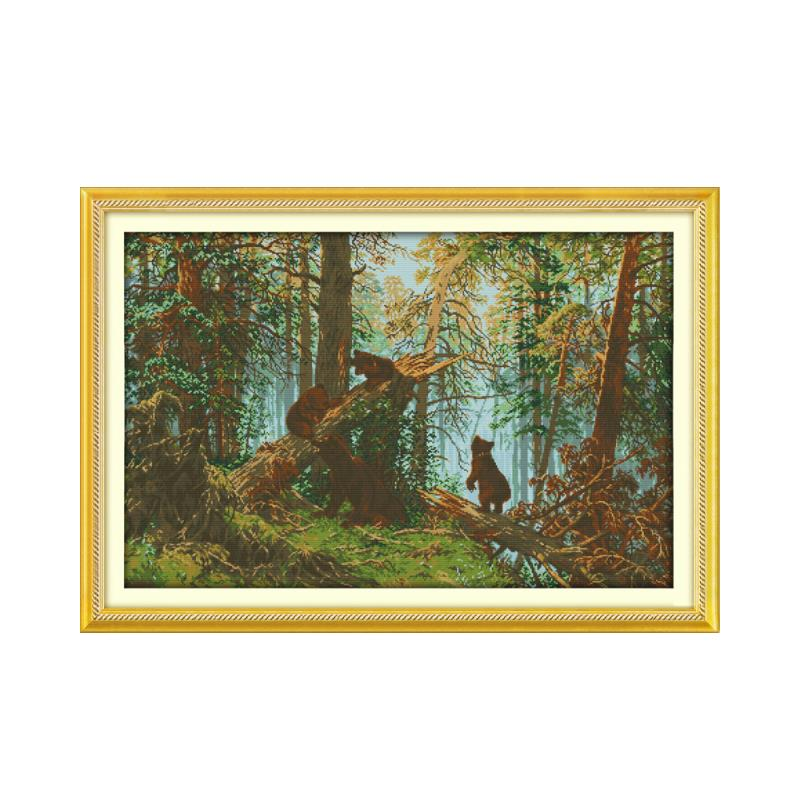 Cross stitch 11CT 14CT multi-standard sewing kit, pine forest sunshine beautiful scenery handmade furniture fabric decoration ...