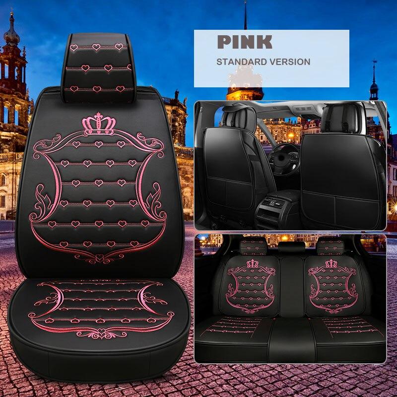 Housse de siège de voiture en cuir universel pour volkswagen golf 4 5 passat polo tiguan or/blanc/rose accessoires de voiture style de siège de voiture