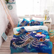 цена Twelve Constellations Bedding Set Kids Cartoon Duvet Cover Set Dreamlike Scorpio Print Bedding Colorful Bedclothes Pillowcase в интернет-магазинах