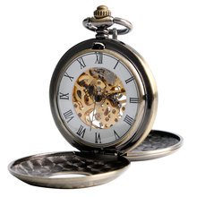 Fob Pocket Watches Mechanical Hand Wind Luxury Bronze Chic Steam Double Hunter Hollow Roman Numbers Fob Clock Gift New Style