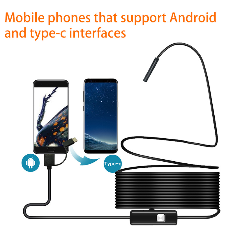 5 5MM Android Endoscope 3 in 1 USB Micro USB Type C Borescope Inspection Camera Waterproof 5.5MM Android Endoscope 3 in 1 USB/Micro USB/Type-C Borescope Inspection Camera Waterproof for Smartphone with OTG and UVC PC