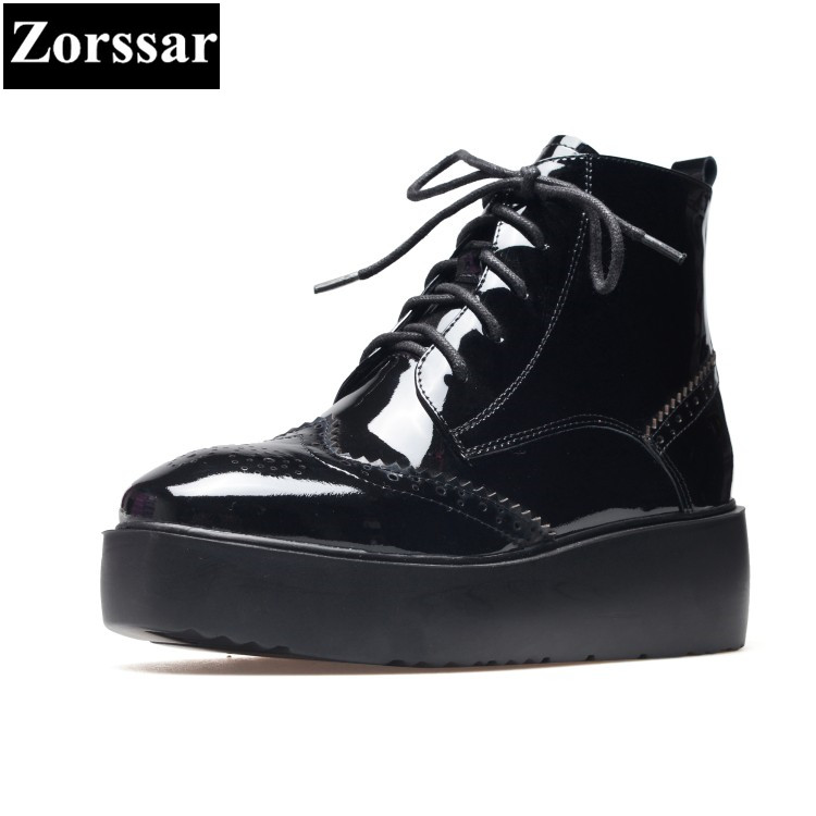 Фотография {Zorssar} 2018 NEW Fashion Women Boots Genuine Leather wedges ankle boots Lace up womens Martin boots winter female shoes